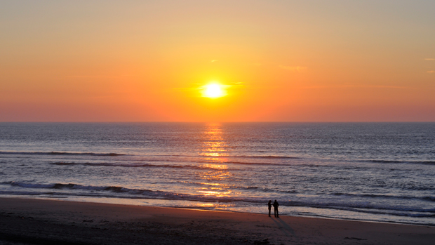Sunset on the beach at Soulac-sur-Mer in France