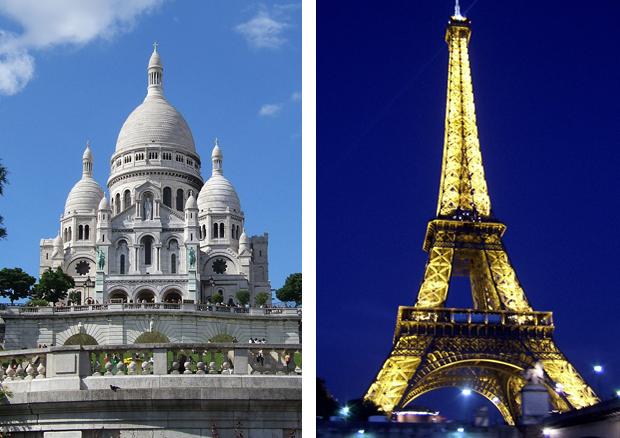 Sacre Coeur Basilica and the Eiffel Tower in Paris