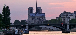 Dusk over Notre Dame cathedral in Paris