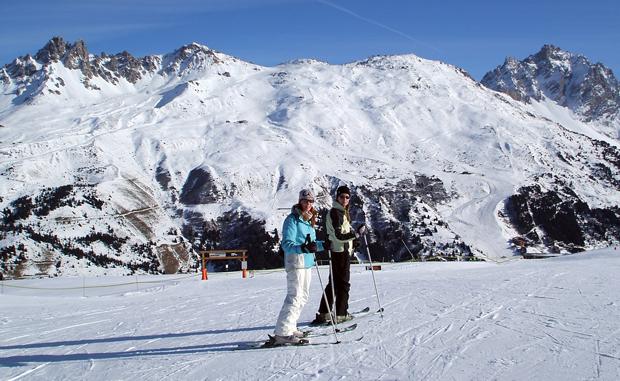 Skiing in Meribel in the Three Valleys in France
