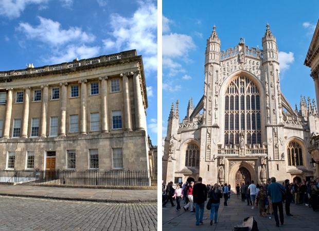 No 1 Royal Crescent and Bath Abbey
