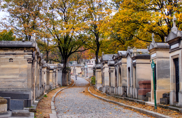Road curves through the tombs of Père-Lachaise cemetery in Paris