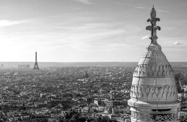 Paris and the Eiffel Tower from the top of Sacré-Cœur Basilica