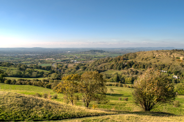 Views across the Cotswolds from Birdlip in Gloucestershire