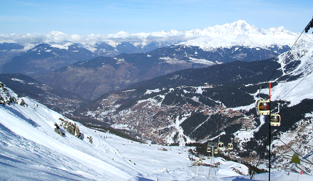 View down to Meribel in the French Alps