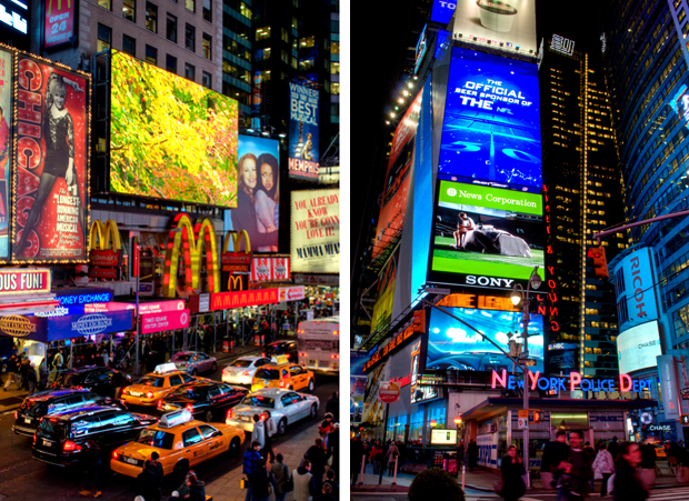 Lights in Times Square in New York at night