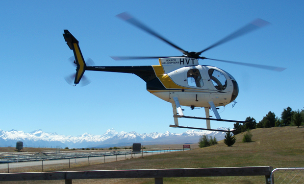 Helicopter trip up to Mount Cook from Lake Tekapo in New Zealand