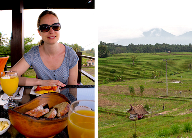 Breakfast on the roof terrace at Balam Bali Villa, Ubud