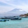 View of volcanoes from Nusa Lembongan, Bali