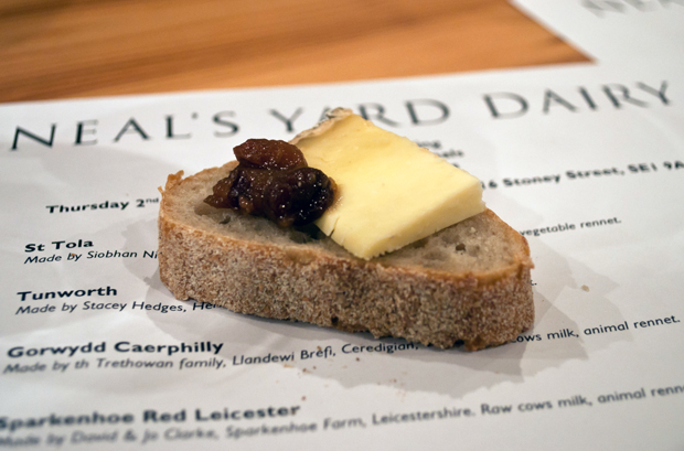 Bread and cheese at Neal's Yard Dairy cheese-tasting, London