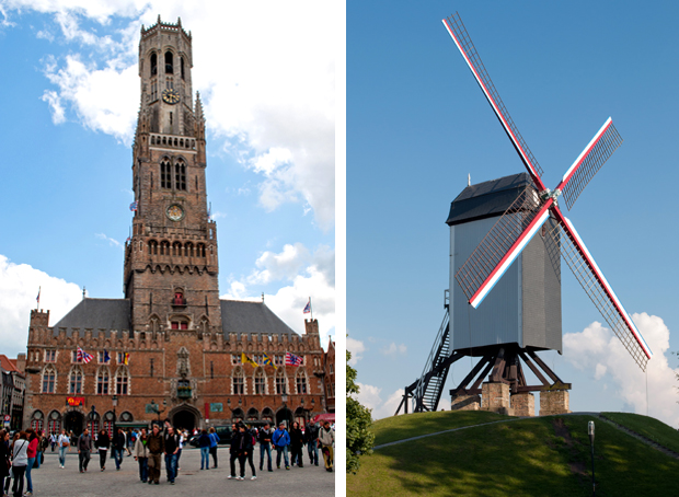 The Belfort and windmills in Bruges, Belgium
