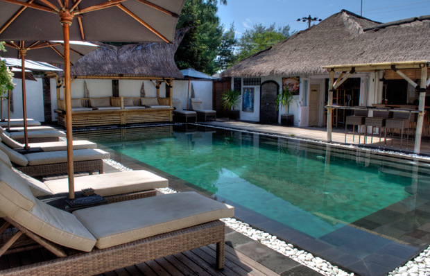 Pool and terrace at Scallywags, Gili Trawangan, Indonesia