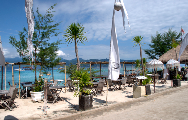 Beachside restaurant at Scallywags, Gili Trawangan, Indonesia