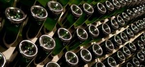Champagne bottles in Reims, France