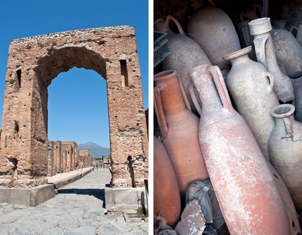 Archway and amphorae clay jars at Pompeii archaeological site, Italy