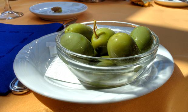 Green olives in Sorrento restaurant, Italy