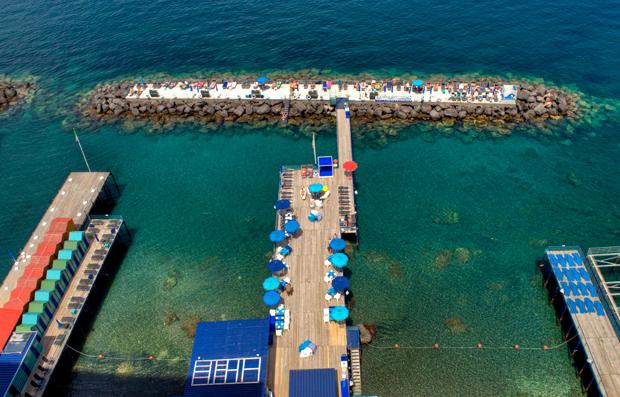 Beach piers in Sorrento, Italy
