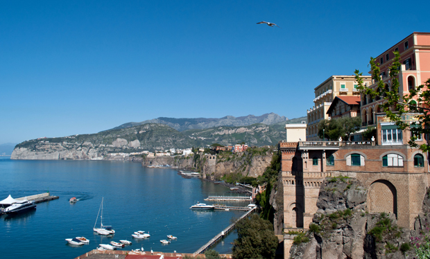 The harbour in Sorrento in the Bay of Naples in Italy