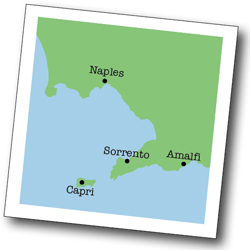 Map of Sorrento in the Bay of Naples, Italy