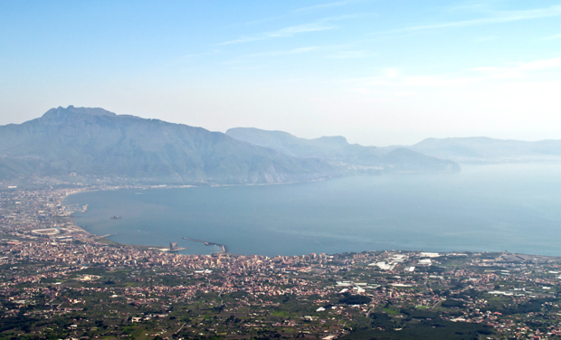 View from the top of Vesuvius volcano, Italy