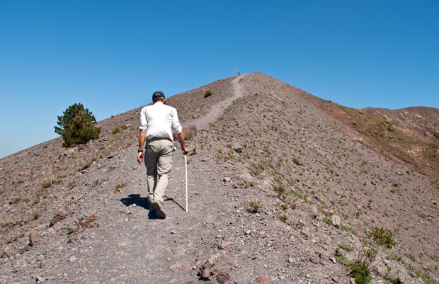 Our guide leading us up the crater of Vesuvius volcano, Italy