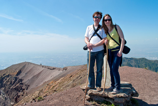 At the highest point of the Vesuvius volcano crater, Italy