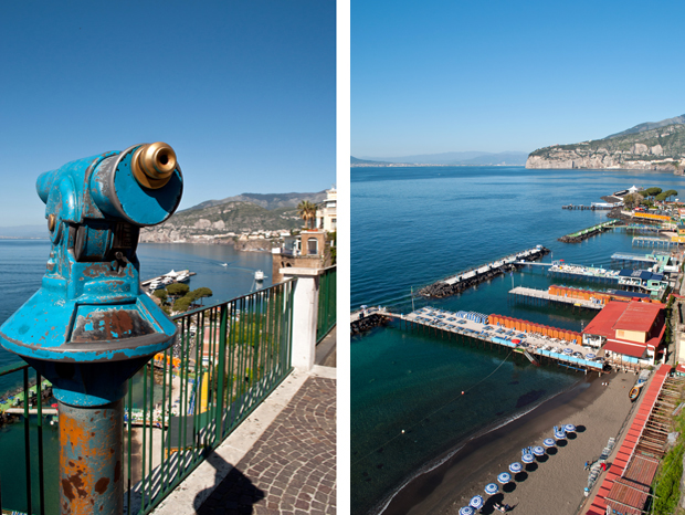 Views across the Bay of Naples from Sorrento, Italy
