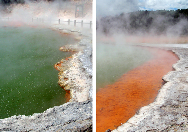 The Champagne pools at Wai O Tapu thermal wonderland, Rotorua, New Zealand