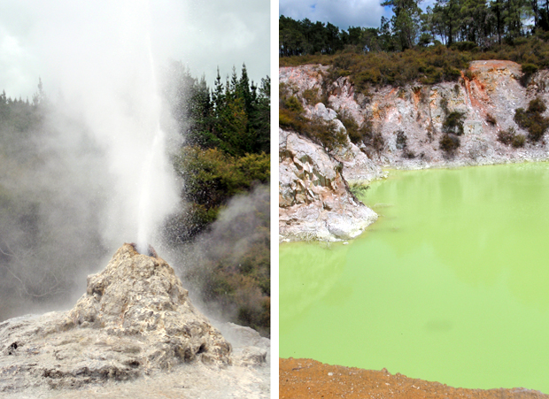 Geyser and green pool at Wai O Tapu thermal wonderland, Rotorua, New Zealand
