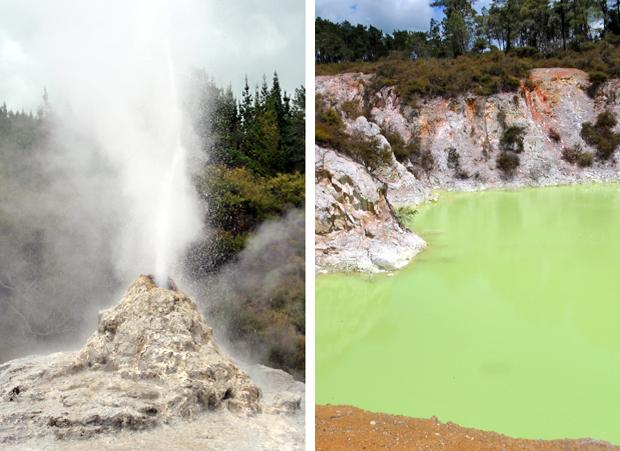 Geyser and green pool at Wai O Tapu thermal wonderland, Rotorua, New Zealand