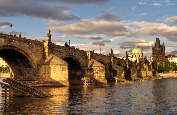 The Charles Bridge across the Vltava River in Pargue, Czech Republic
