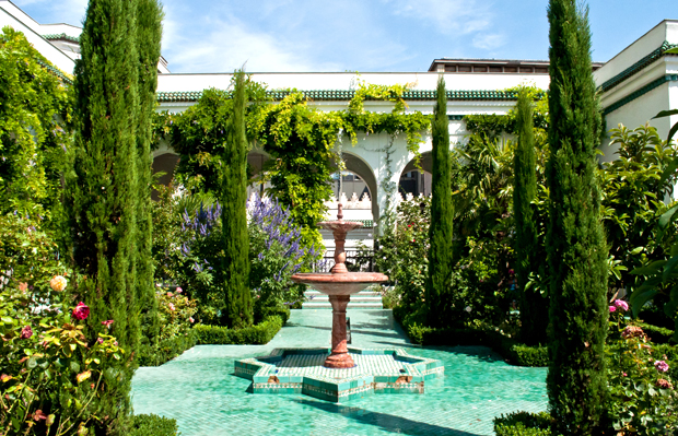 Fountain in the gardens of the Grande Mosquee de Paris, France