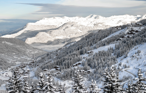 View down the Meribel Valley in the French Alps