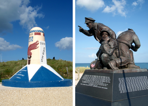 Memorials at the Utah Beach WWII D-Day landing site in Normandy, France