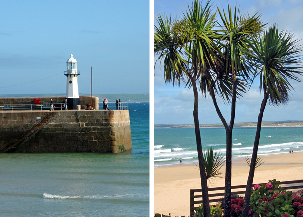 Lighthouse in St Ives harbour, Cornwall, UK