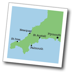 Map of St Ives, Cornwall