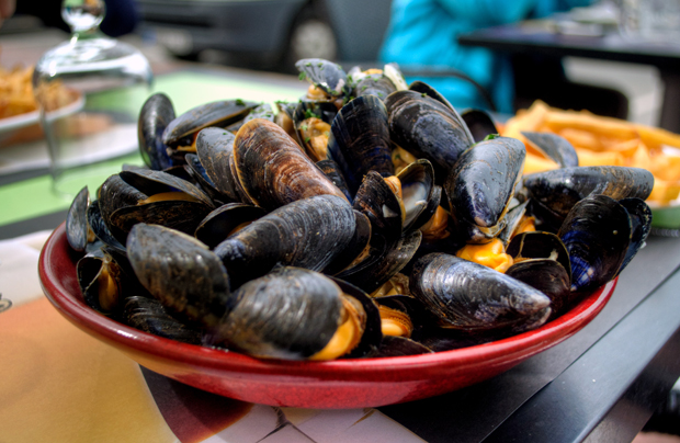 Moules and frites, French food