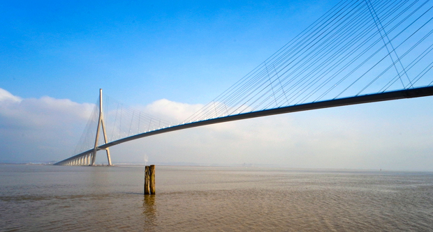 The Pont de Normandie bridge in Normandy, France