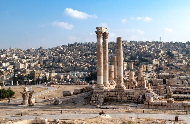 The Roman citadel overlooking Amman, Jordan