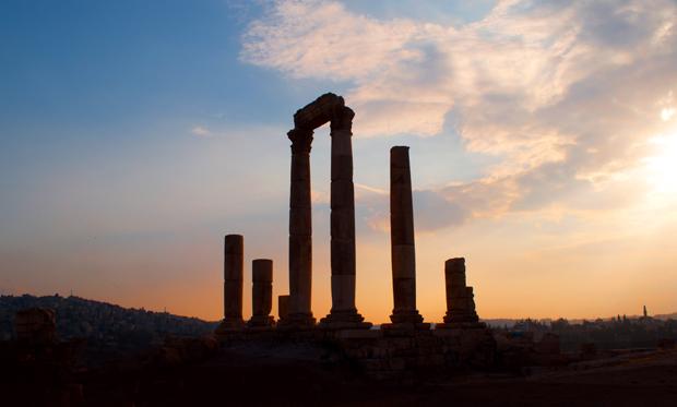 The Roman citadel in Amman, Jordan, at sunset