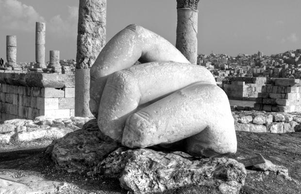 Hand sculpture at the Roman citadel in Amman, Jordan