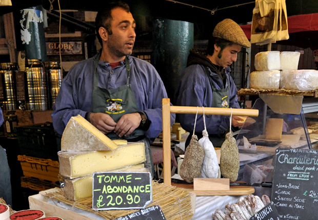 French produce stall at Borough Market in London