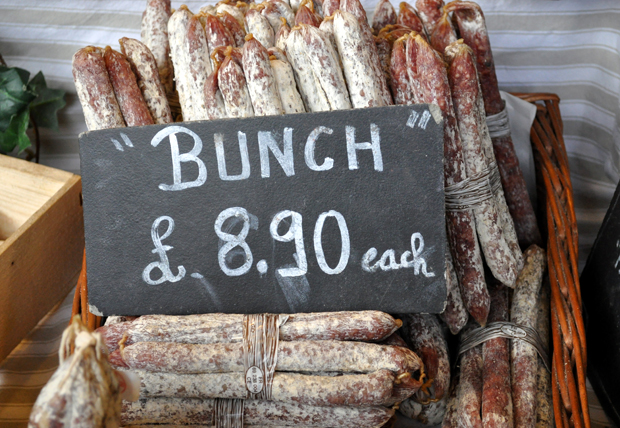 Bunches of sausages on a stall at Borough Market in London