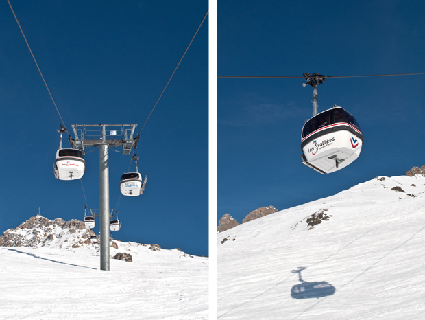 Cable cars on the slopes in Meribel