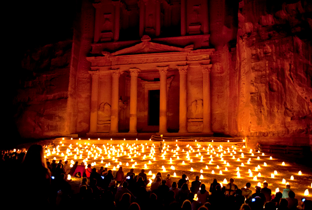 Treasury at Petra by night, Jordan