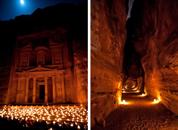 The temples of Petra by candlelight, Jordan