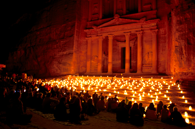The temples at Petra lit up by candles at night, Jordan