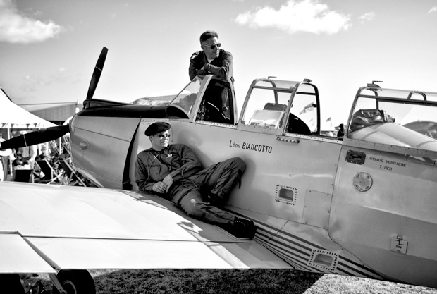Pilots on a plane at the Goodwood Revival vintage event