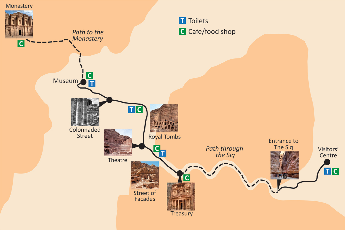 A first timers guide to visiting petra jordan on the luce guide to petra jordan map of the site gumiabroncs Images