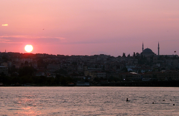 Sunset over the Bophorus, Istanbul, Turkey